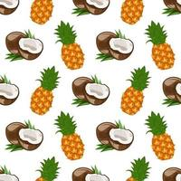 Seamless pattern with coconut and pineapple vector