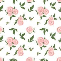Delicate seamless pattern with flowers peonies vector