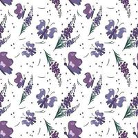 Cute stylish seamless pattern with purple flowers and butterflies vector