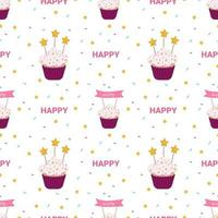 Bright holiday pattern with cakes, stars vector
