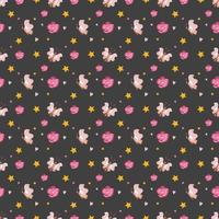 Cute seamless pattern with butterfly, flowers and stars vector