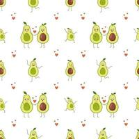 Seamless pattern cute avocado characters with emotions vector