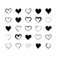Set of simple black vector heart icons, for Valentines Day and Wedding