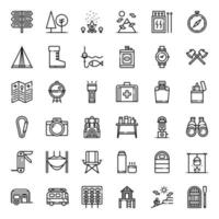 Camping outline icon vector