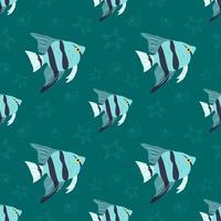 patrón marino de verano con peces, estrellas de mar y conchas. vector