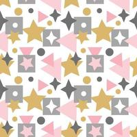 Abstract seamless pattern with squares, stars, lines and elements vector