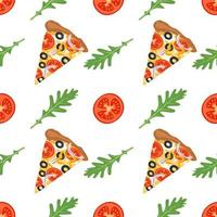 Bright background with slices of pizza, arugula and tomatoes vector