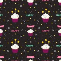 Bright holiday pattern with cakes, stars and other design elements vector