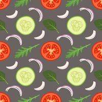 Seamless vegetables pattern with tomato, cucumber and leave vector