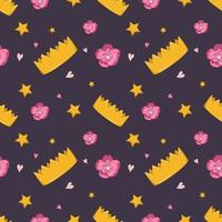 Cute seamless pattern with crown, flowers and stars vector