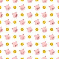 patrón sin costuras con cerdo rosa y moneda de oro vector