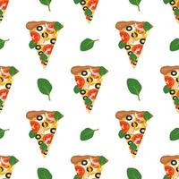 seamless pattern with pizza. food print with vegetables and cheese vector