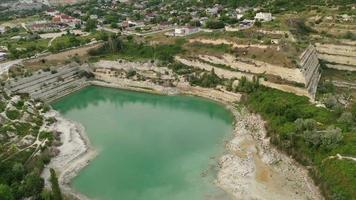 Top view of the St. Klimentovsky Lake in Inkerman, Crimea. video