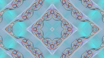 symmetrisk abstrakt blå mönstrad bakgrund. video