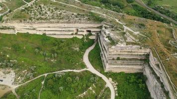 Aerial view with a view of the Inkerman quarry. Sevastopol, Crimea video