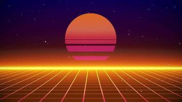 fond des années 80 de style rétro soleil video