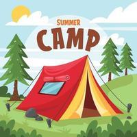 campamento de verano en el claro del bosque. vector
