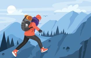Hiking Mountain Adventure Concept vector