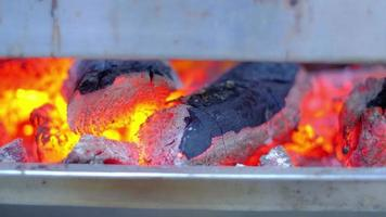 Traditional grill stove as the charcoal is burned. video