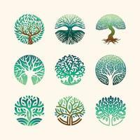 Tree Logo Elements Set vector