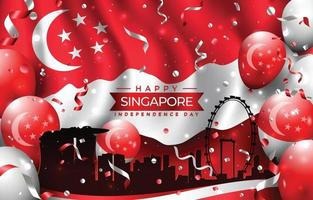 Happy Singapore Independence Day with City Silhouette vector