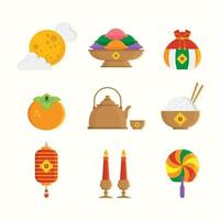 Set of Chuseok Festival Element Icons vector