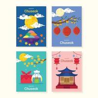 Set of Happy Chuseok Cards vector