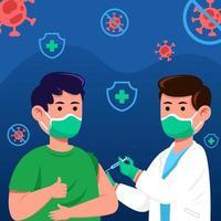 el médico administra la vacuna covid-19 vector