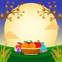 Orange and Apple Basket under Full Moon Night vector