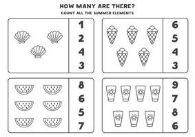 Counting game with black and white summer elements. Math worksheet. vector