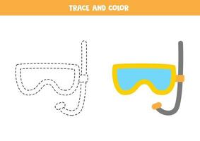 Trace and color diving mask. Worksheet for kids. vector