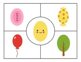 Learning basic geometric forms for children. Cute oval. vector