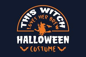 This Witch Loves Her Brew Halloween Costume Gift T-shirt vector