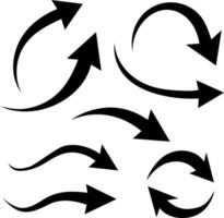 Arrow curve. Black flat curved arrows indicate the direction vector