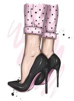 Female feet in stylish high-heeled shoes vector