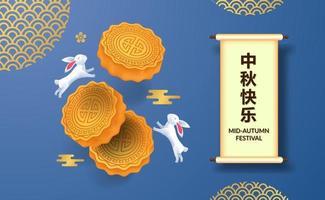 Elegant mid autumn festival with rabbit bunny and moon cake vector