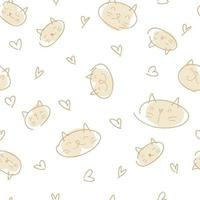 Pastel colored vector seamless pattern of cat faces and hearts