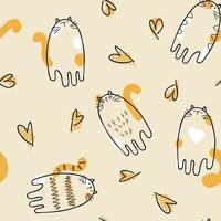 Pastel colored vector seamless pattern of cats and hearts