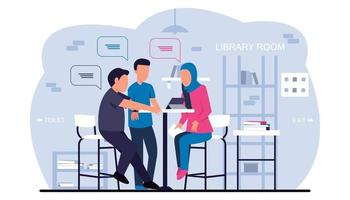 Three people studying together in the library vector