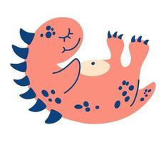 Cute cartoon dinosaur. Small pink dinosaur is lying on its back. vector