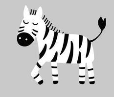 Hand drawn vector zebra. Cute cartoon baby illustration