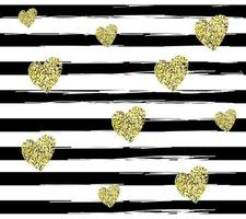 Pattern with black lines and glitter golden hearts. vector