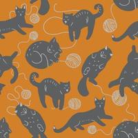 Seamless pattern with different cats and balls of yarn vector