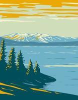 Yellowstone Lake Within Yellowstone National Park WPA Poster Art vector
