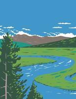 Hayden Valley in Yellowstone National Park  WPA Poster Art vector