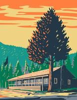 Roosevelt Lodge Cabins Yellowstone National Park WPA Poster vector