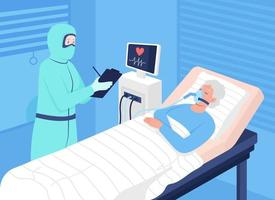 Covid patient in intensive care flat color vector illustration