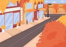 Autumn city street flat color vector illustration