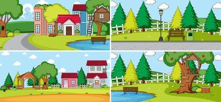 Set of different houses in nature scenes cartoon style vector