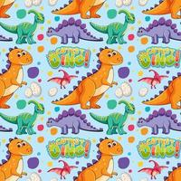 Seamless pattern with cute dinosaurs and font on blue background vector